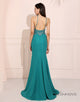 Sheath V-Neck Sparkle Prom Dress Side Split Long Evening Dress
