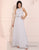 Simple Grey Chiffon Prom Dress Round Neck Long Evening Dress