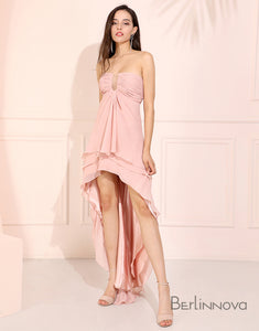 Sexy High Low Prom Dress Pink Long Bridesmaid Dress