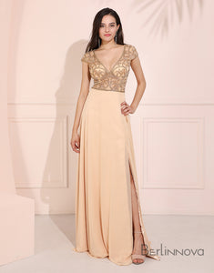 Sheer-Bodice Long Prom Dress Cap Sleeve Evening Dress