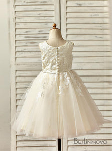 A-Line Knee-length Flower Girl Dress Sleeveless with Beaded Sash