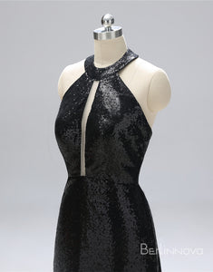 Glitter Black Prom Dress Open Back Evening Dress