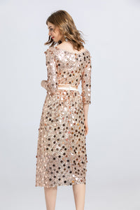 Glitter Sequin Homecoming Dress 3/4 Sleeve Short Prom Dress