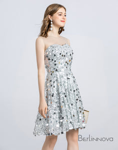 Sleeveless Jewel Lace Sequins Mini Homecoming Dress