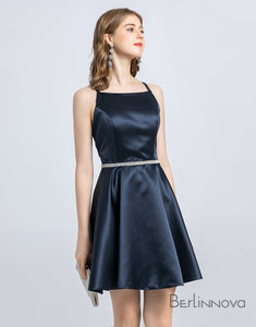 A-Line Spaghetti Strap Sleeveless Open Back Satin Homecoming Dress