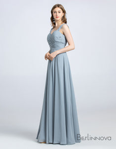 A-Line Off-the-shoulder Dusty Blue Bridesmaid Dress