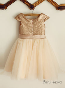 A-Line Knee-length Sequined Flower Girl Dress with Sash