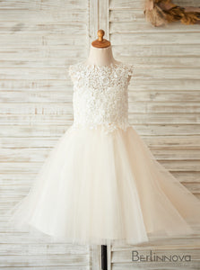 A-Line Knee-length Lace Flower Girl Dress Scoop Neck with Back Hole
