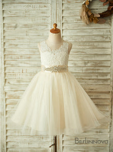 A-Line Sleeveless Appliques Flower Girl Dress with Rhinestone Bow