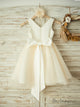 Princess Sleeveless Satin Flower Girl Dresses with Reinestone Sash