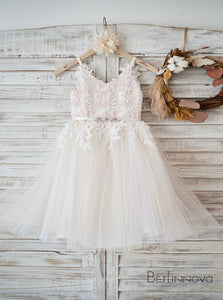 A-Line Knee-length Lace Flower Girl Dress Sleeveless with Rhinestone