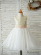 A-Line Knee-length Sequined Flower Girl Dress with Pink Bow