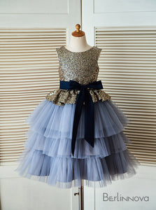 A-Line Sequined Round Neck Tulle Tiered with Sash