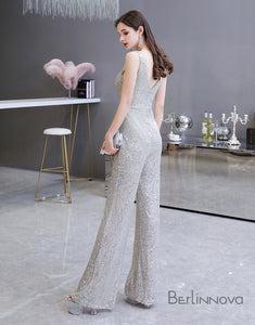 Glitter Sequin V-Neck Prom Evening Jumpsuit