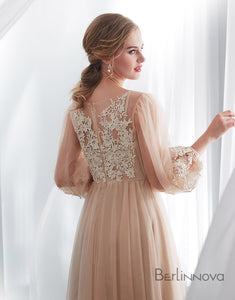 Fabulous Scoop Champagne Prom Dress Long Sleeves Appliques Evening Dress
