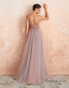 A-Line V-Neck Pink Tulle Prom Dress Side Split Backless Evening Dress