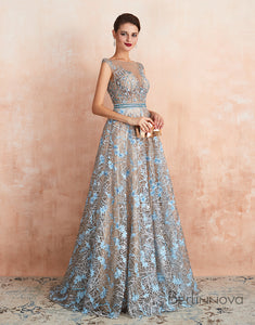 A-Line Scoop Rhinestone Prom Dress Blue Lace Long Evening Dress