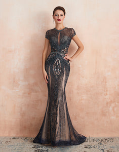 Mermaid Round Neck Prom Dress Rehinestone Long Evening Dress