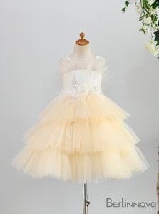 Ball-Gown Round Neck Champagne Tulle Flower Girl Dresses