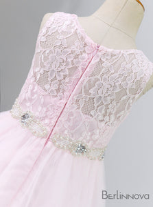 A-Line Sheer Bodice Lace Flower Girl Dresses with Rehinestone Sash