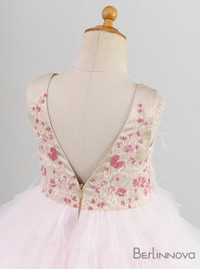 A-Line Pink Tulle Flower Girl Dress with Flowers