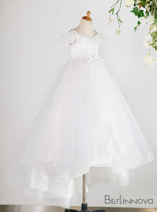 A-Line Cap Sleeve White Flower Girl Dress with Open Back