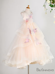 Princess Tiered Skirt Flower Girl Dresses with Flowers
