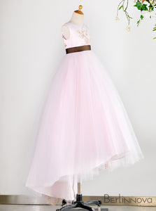 A-Line Round Neck Open Back Pink Flower Girl Dress with Embroidery
