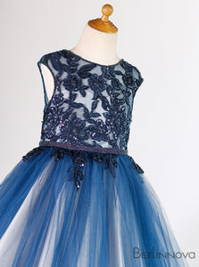 Gorgeous Sheer Lace Bodice Tulle Flower Girl Dresses with Beading