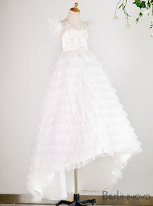 A-Line Sheer Back Tulle White Flower Girl Dresses