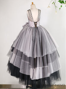 Ball Gown Dots Tulle Flower Girl Dress with Bow
