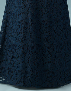 Simple Mermaid Prom Dress Navy Blue Lace Evening Dress