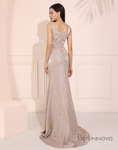 Elegant Mermaid Prom Dress Light Grey Long Evening Dress