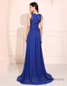 A-Line V-Neck Prom Dress Side Split Long Evening Dress