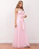 Pink Illusion Back Long Bridesmaid Dress