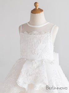 Round Neck Sleeveless Lace Flower Girl Dress with Bow