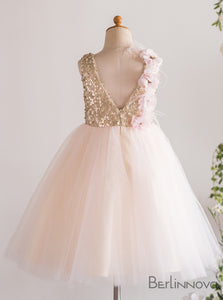 Princess Flowers Sleeveless Sequin Open Back Flower Girl Dresses