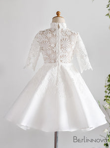 High Neck Long Sleeves Lace Flower Girl Dresses