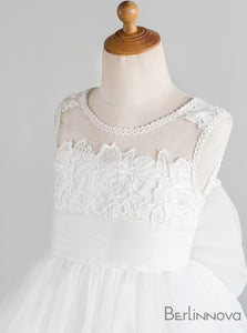Princess Big Bow Tulle Flower Girl Dresses