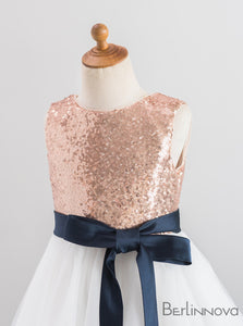 A-Line Round Neck Sequined Flower Girl Dresses with Sash