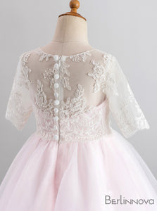 Princess Tulle Long Sleeves Pink Flower Girl Dress