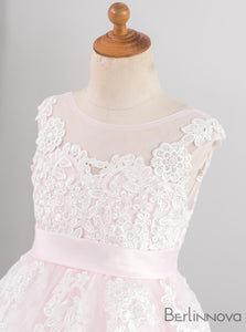 Round Neck Sleeveless Lace Flower Girl Dress with Sash