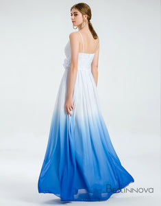 Ombre Blue Chiffon Simple Wedding Dresses