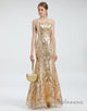 Glitter Strapless Gold Prom Dresses Long Plus Size Formal Dresses