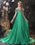 Green Prom Dress Flower Pattern Ornament Evening Dress