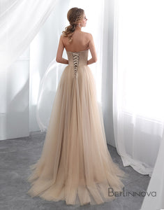 A-line Strapless Champagne Prom Dress Appliques Long Evening Dress
