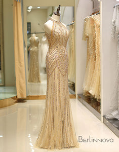Vintage Mermaid Prom Dress Gold Tulle Long Evening Dress