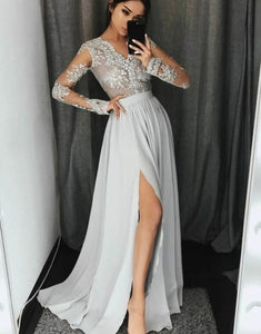 A-line V-neck Silk-like Satin Floor-length Appliques Lace Prom Dresses