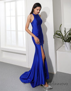 Mermaid Royal Blue Prom Dress Side Split Long Evening Party Dress