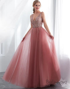 Hot Selling Pink Prom Dress Side Split Beading Evening Party Dress